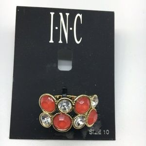 I.N.C. Chunky Ring Tower Orange Clear Stone 10 INC